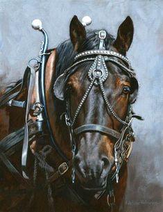 Giclee Print Percheron Charleston Draft Horse Painting Art SC South Carolina