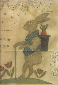 Primitive Folk Art Cross Stitch and Wool Applique Pattern: BUNNY TAILS - Three Projects