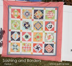 Free quilt along with 16 free quilt block tutorials as well as information on quilting supplies, choosing fabrics, how to quilt and finish a quilt.