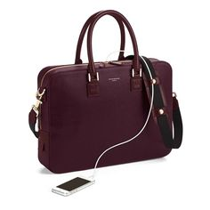 Small Mount Street Bag in Burgundy Saffiano from Aspinal of London