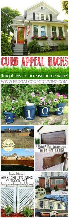 Curb Appeal Hacks and Tips - Frugal Home Ideas to Increase Your Home Value. Update the appearance for your home for little expense. These ideas and more on Frugal Coupon LIving. #curbappeal #patioideas #homedecor #homedecorideas #home #moving