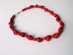 CHILI PEPPER - Christmas Color Necklace with large and small red CORAL beads by DharmaArtDesign