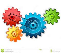 This is an example of how the cogs can be connected but they may also touch in order for them to work.