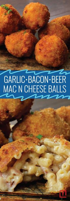 We at Thrillist believe that most things in life are made better by beer, including macaroni and cheese. So it goes without saying that our mouths started watering when we found Twisteds recipe for garlic, bacon, and beer mac & cheese balls, an easy snack Beer Mac And Cheese, Mac Cheese, Garlic Cheese, Fried Mac And Cheese, Mac And Cheese Bites, Cheese Dips, Cheese Fruit, Cheddar Cheese, Pasta Recipes