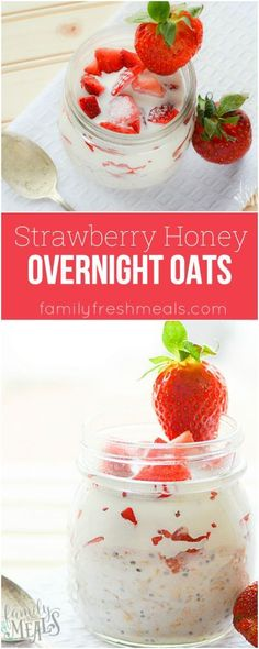 Strawberry Honey Overnight Oats Yummy Recipe #HoneyYummy