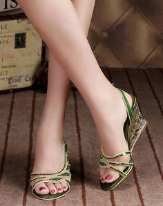 Chunky Heel Sandals Blue Diamond Studded Slingback Open Toe, Blue, G·Sharrow | VIPme