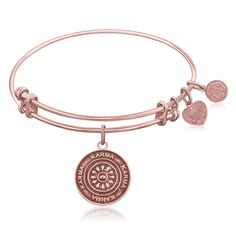 Expandable Bangle in Pink Tone Brass with Karma Symbol