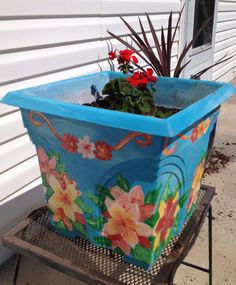 Garden art - Painted plastic planter with acryllic paint by V's Tropical Arts Design