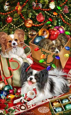 """Papillon Christmas cards are 8 1/2"""" x 5 1/2"""" and come in packages of 12 cards. One design per package. All designs include envelopes, your personal message, and choice of greeting. Select your greeting from the drop-down menu above.Add your personal message to the Comments box during checkout."""