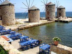 Windmills, Chios, Greece.