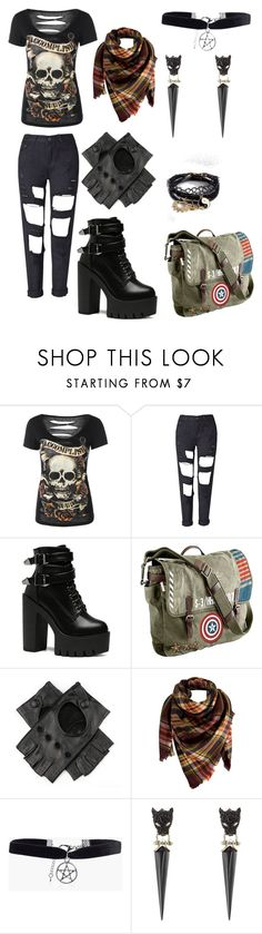 """Punk Outfit"" by tumbl-weed ❤ liked on Polyvore featuring Marvel, Black, Peach Couture, Boohoo, Alexis Bittar and ASOS"