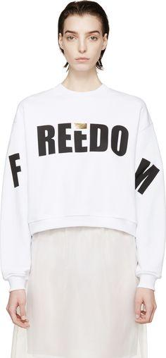 MSGM: White 'Reedo' Cropped Sweatshirt | SSENSE