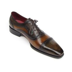 Oxford captoe style men's handmade shoes. Camel and olive hand-painted leather upper with leather sole and bordeaux leather lining. This is a made-to-order product. Please allow 15 days for the delivery. Because our products are hand-painted and couture-level creations, each item will have a unique hue and polish, and color may differ slightly from the picture. Color: As Per Description Material: Calfskin Item Fit / Dimensions: As per size guide Made In: United States Shipped From: United…