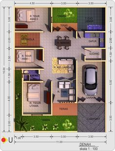 """can we change the 'tempat cuci/jemur"""" into an extra bedroom, and move the """"tempat cuci."""" to a 'dak' on top of the room? Dream House Plans, Modern House Plans, Small House Plans, House Floor Plans, My Home Design, Home Design Plans, Bedroom Layouts, House Layouts, Bungalow Haus Design"""