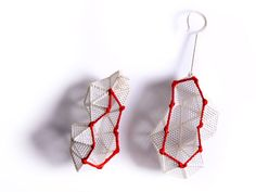 Joanne Huang - 'Cover & Discover' Series. Earrings. Silver , PVC mesh sheet , silk