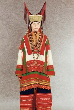Horned Kichko Headdress, scarves, belts and sacred embroidery, a complete…