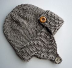 Aviator Hat Knitting Pattern Baby to Child sizes pdf by LoveFibres