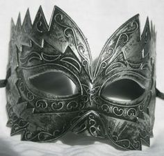 "Mens burnished silver masquerade mask ""Titan"" great eye mask for a masked ball 