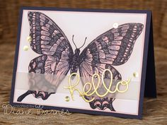 Swallowtail butterfly card made for Just Add Ink design team - colour challenge 266 - night of navy, pink pirouette
