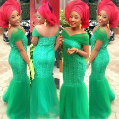 Nigerian wedding green and red ore-iyawo aso-ebi color combination
