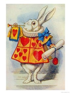 The White Rabbit, Illustration from Alice in Wonderland by Lewis Carroll Impressão giclée