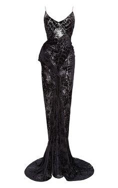 Velvet Burnout Open Back Gown by ZAC POSEN for Preorder on Moda Operandi