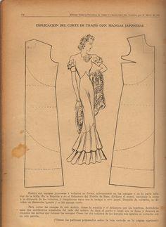 Vintage 1930s Dress Pattern Draft