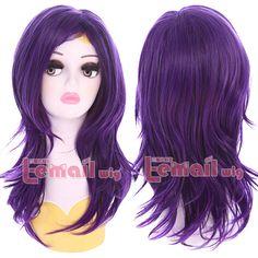 Descendants Mal 50cm Medium Wave Curly Hair Cosplay Wigs Wig Cap ZY193   eBay