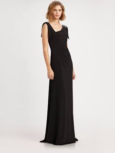 $412 David Meister Black Matte Jersey Asymmetric Beaded Shoulder Gown