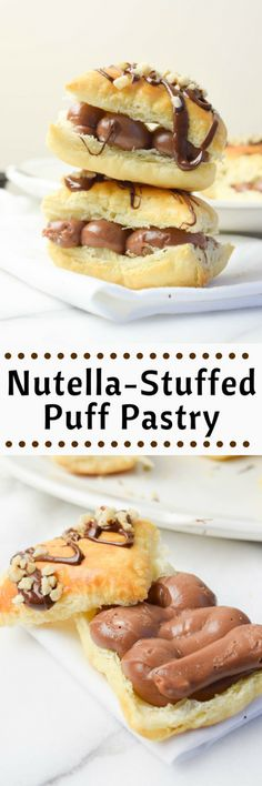Frozen puff pastry and Nutella are meant for each other! This Nutella-stuffed puff pastry is perfectly flakey with a creamy chocolate filling! Easy Desserts, Dessert Recipes, Dessert Food, Dessert Ideas, Nutella Recipes, Nutella Deserts, Nutella Cake, Frozen Puff Pastry, Sweet Recipes