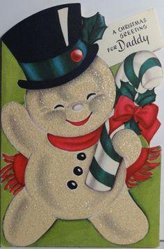1950s Rust Craft  Snowman Vintage Christmas Card