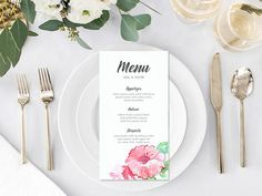 Your place to buy and sell all things handmade Botanical Wedding, Floral Wedding, Wedding Flowers, Watercolor Rose, Watercolor Wedding, Printable Menu, Printables, Wedding Menu, Wedding Ideas