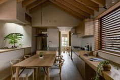 House in Shogei is a minimalist home located in Shiga, Japan, designed by Hearth Architects. Minimalist Architecture, Minimalist Interior, Minimalist Home, Interior Architecture, Asian Kitchen, Japanese Kitchen, Interior Minimalista, Design Minimalista, Patio Interior