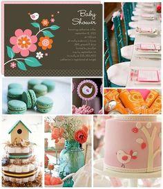 Baby Shower - Bird theme via Tiny Prints Diaper cake with bird house
