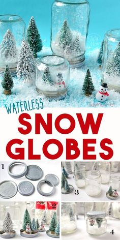 DIY Waterless Snow Globes Waterless snow globes are fun to shake, don't break and so easy to make, even a kid could do it! A fun twist to a traditional winter craft. Learn how to make waterless snow globes at… Continue Reading → Snow Globe Crafts, Diy Snow Globe, Christmas Snow Globes, Christmas Ornaments, Snow Crafts, Diy Ornaments, Kids Snow Globe Craft, Christmas Crafs, Christmas Candy