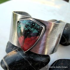 wow, i would love this Sterling Cuff Bracelet  Sonoran Sunrise by PPennee on Etsy,   Love the stone