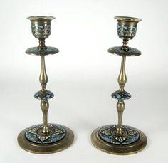 2 Jugendstil Messing Kerzenständer emailliert Art Nouveau Brass Candlesticks