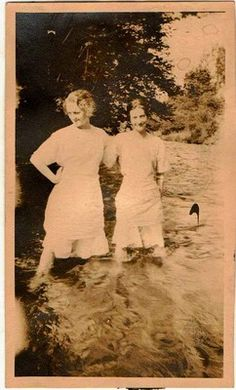 Antique photograph two women standing in water Selling on ebay