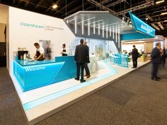 Clearstream at Sibos An exhibition stand designed by Rapiergroup Exhibition Building, Exhibition Stall, Exhibition Booth Design, Exhibit Design, Standing Signage, Exibition Design, Web Banner Design, Light Architecture, Digital Signage