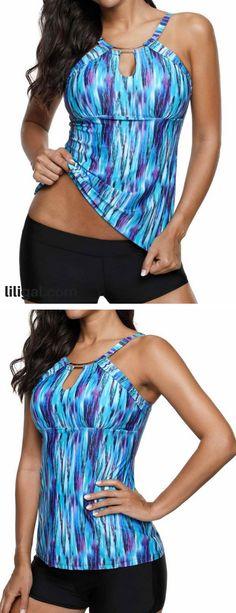 Cutout Front Open Back Blue Tankini Set   #liligal #swimwear #swimsuit