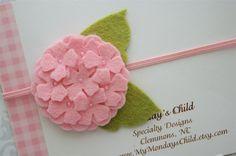 Felt Flower Headband in Pink Hydrangea Newborn by MyMondaysChild. , via Etsy.