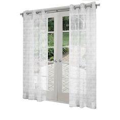 Design Decor 8-ft L Light Filtering Solid White Grommet Curtain Panel