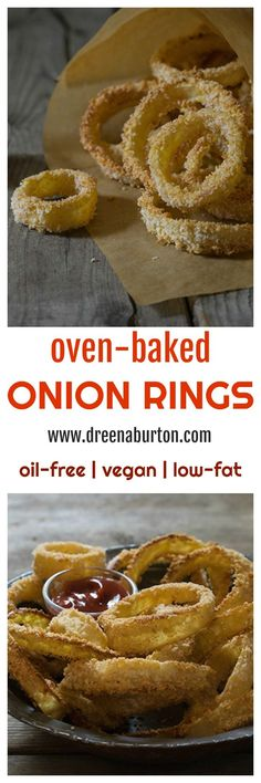OVEN-BAKED ONION RINGS! Irresistibly crispy and delicious - vegan, low-fat, and oil-free! | vegan appetizer recipes | vegan onion rings | oil-free appetizers | oil-free onion rings | low-fat appetizers | low-fat onion rings | healthy onion ring recipes || www.dreenaburton.com #veganappetizers