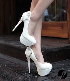 white shoes with chain embellishment and bling back rib