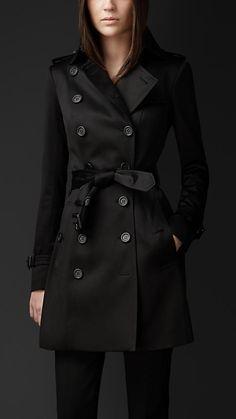 Preto Trench coat médio em cetim de algodão - Imagem 1