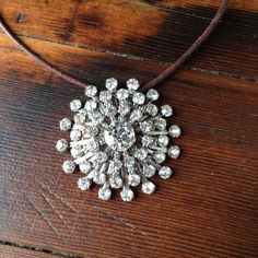 Cowgirl Bling Rhinestone Necklace and Leather Necklace by LuluTales on Etsy Cowgirl Bling, Rhinestone Necklace, Leather Necklace, Vintage Rhinestone, Nice Dresses, Brown Leather, Brooch, Pendant Necklace, Diamond