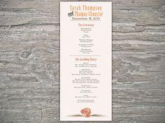 Coral Beach Program Printable DIY for wedding by SeaOfLoveStudios, $25.00
