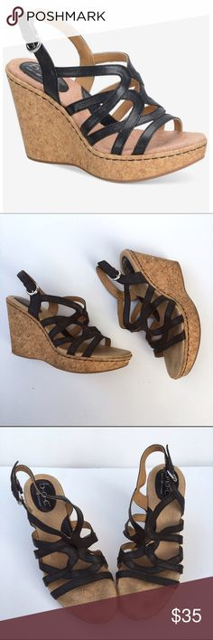 """B.O.C. Black Strappy Wedge Sandals Super cute summer wedges! They have a cushioned footbed for added comfort. They are Leather with a 4.25"""" heel. In good condition. Born Shoes Wedges"""