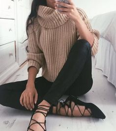#winter #fashion / camel turtleneck knit