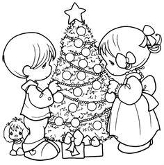 pinto dibujos rbol de navidad de los precious moments para colorear